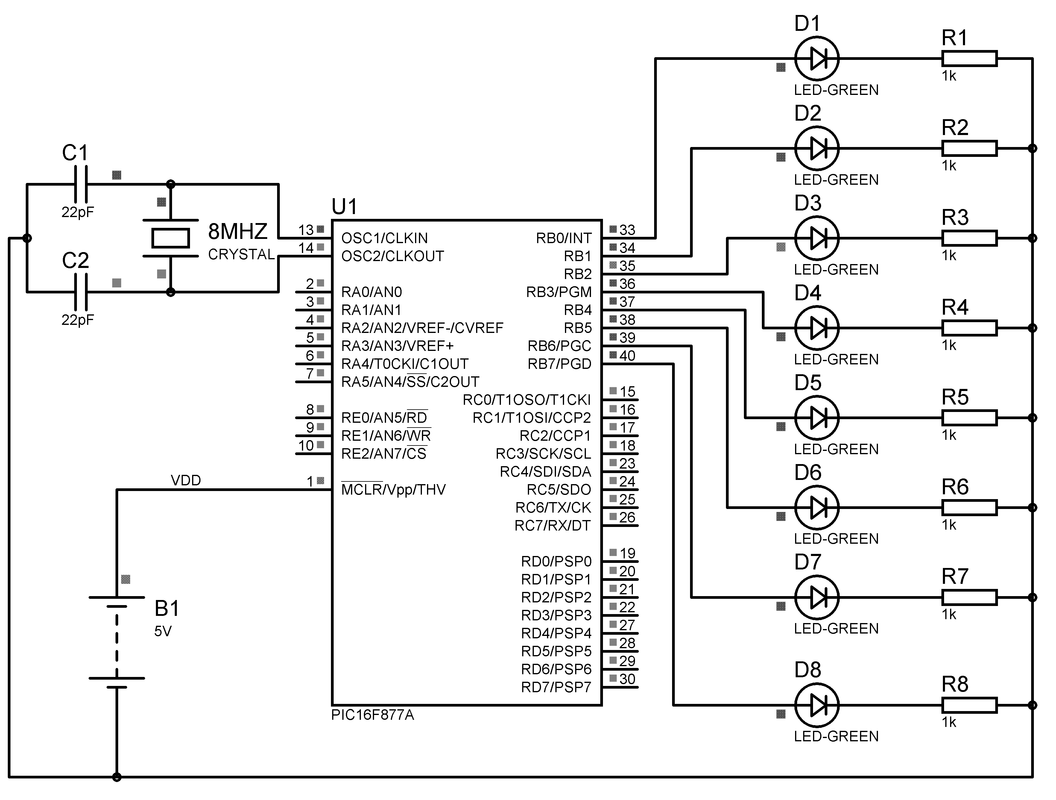 8 Led Chaser Circuit Diagram Using Microcontroller Longjump Tutorials Leds Are Connected To Portb Of The Microcotroller